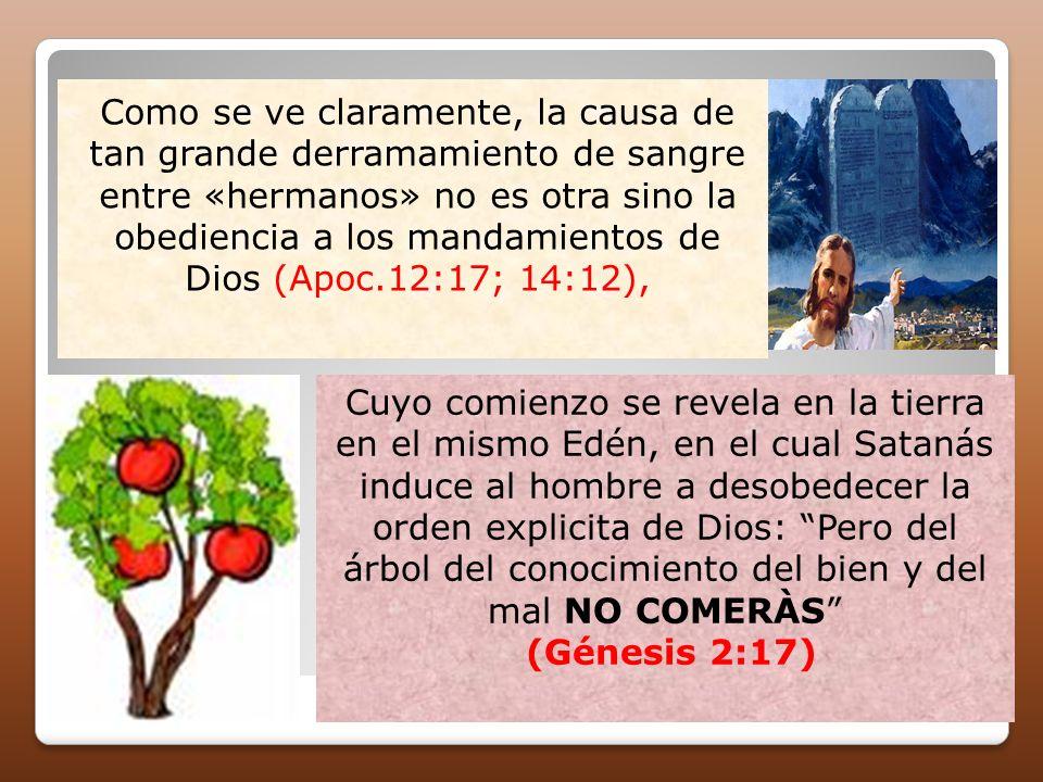 Como se ve claramente, la causa de tan grande derramamiento de sangre entre «hermanos» no es otra sino la obediencia a los mandamientos de Dios (Apoc.12:17; 14:12),