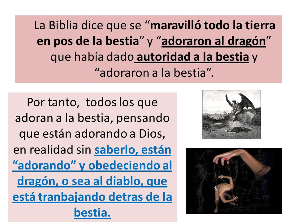 La Biblia dice que se maravilló todo la tierra en pos de la bestia y adoraron al dragón que había dado autoridad a la bestia y adoraron a la bestia .