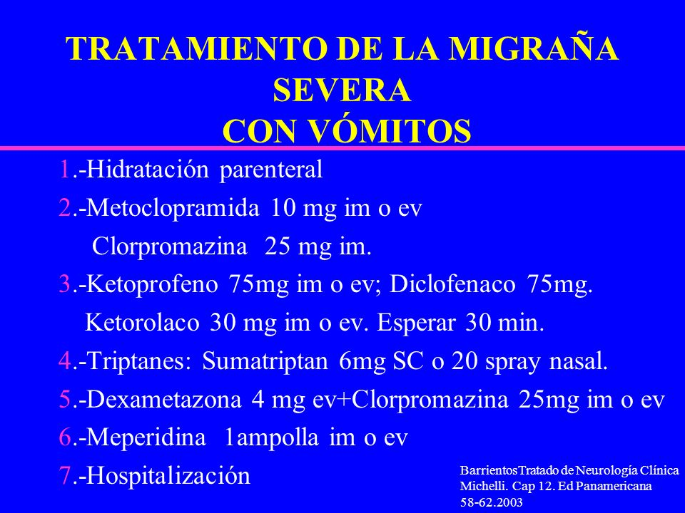 TRATAMIENTO DE LA MIGRAÑA SEVERA CON VÓMITOS