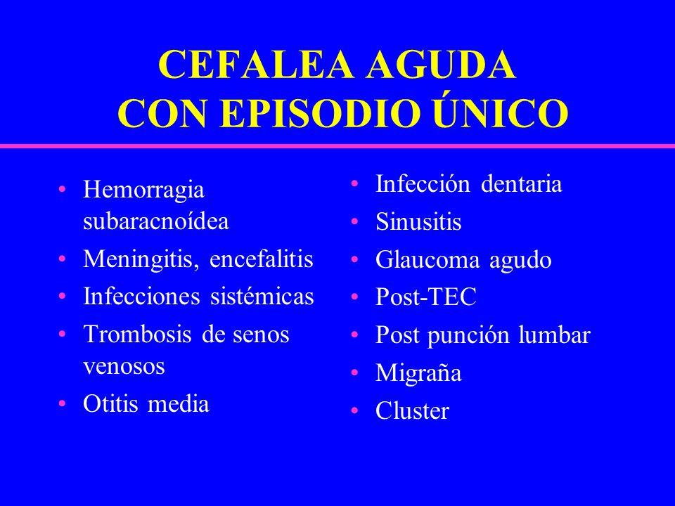 CEFALEA AGUDA CON EPISODIO ÚNICO