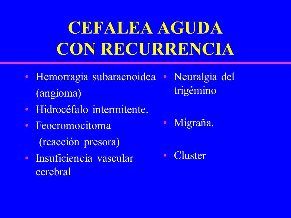 CEFALEA AGUDA CON RECURRENCIA