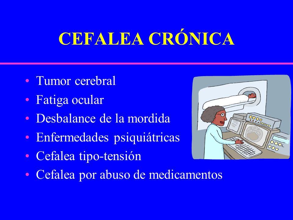 CEFALEA CRÓNICA Tumor cerebral Fatiga ocular Desbalance de la mordida