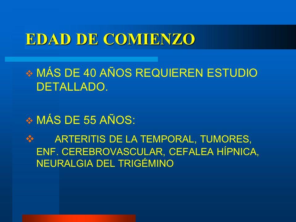 EDAD DE COMIENZO MÁS DE 40 AÑOS REQUIEREN ESTUDIO DETALLADO. MÁS DE 55 AÑOS: