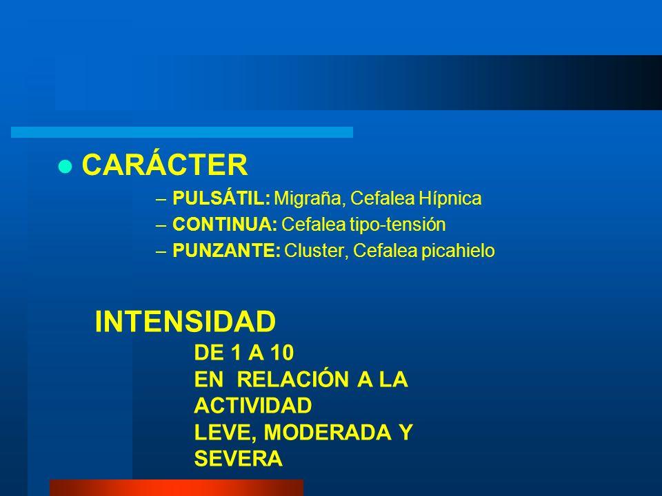 CARÁCTER INTENSIDAD DE 1 A 10