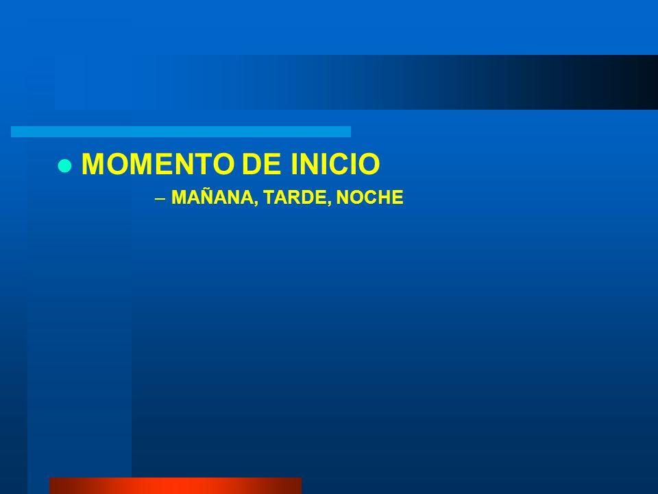 MOMENTO DE INICIO MAÑANA, TARDE, NOCHE