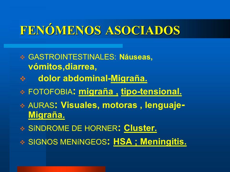 FENÓMENOS ASOCIADOS dolor abdominal-Migraña.