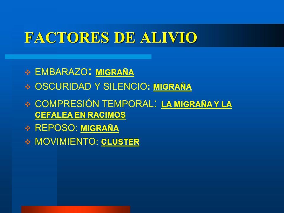 FACTORES DE ALIVIO EMBARAZO: MIGRAÑA OSCURIDAD Y SILENCIO: MIGRAÑA