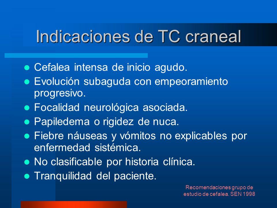 Indicaciones de TC craneal