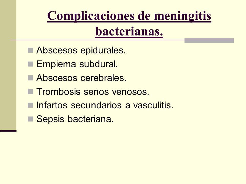 Complicaciones de meningitis bacterianas.