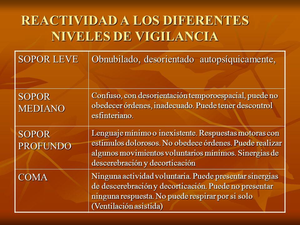 REACTIVIDAD A LOS DIFERENTES NIVELES DE VIGILANCIA