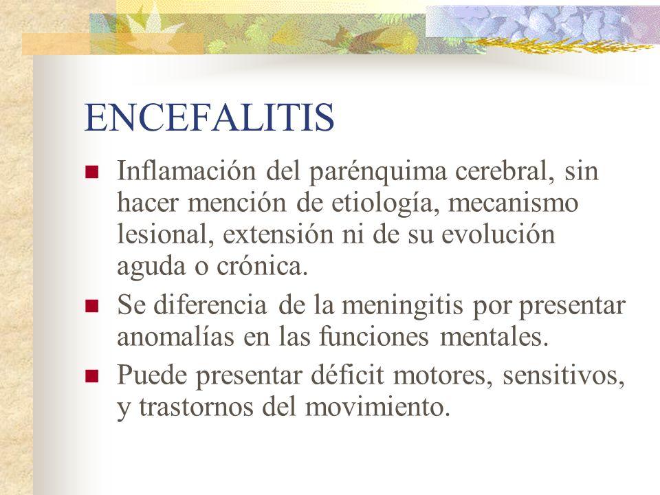 ENCEFALITISInflamación del parénquima cerebral, sin hacer mención de etiología, mecanismo lesional, extensión ni de su evolución aguda o crónica.