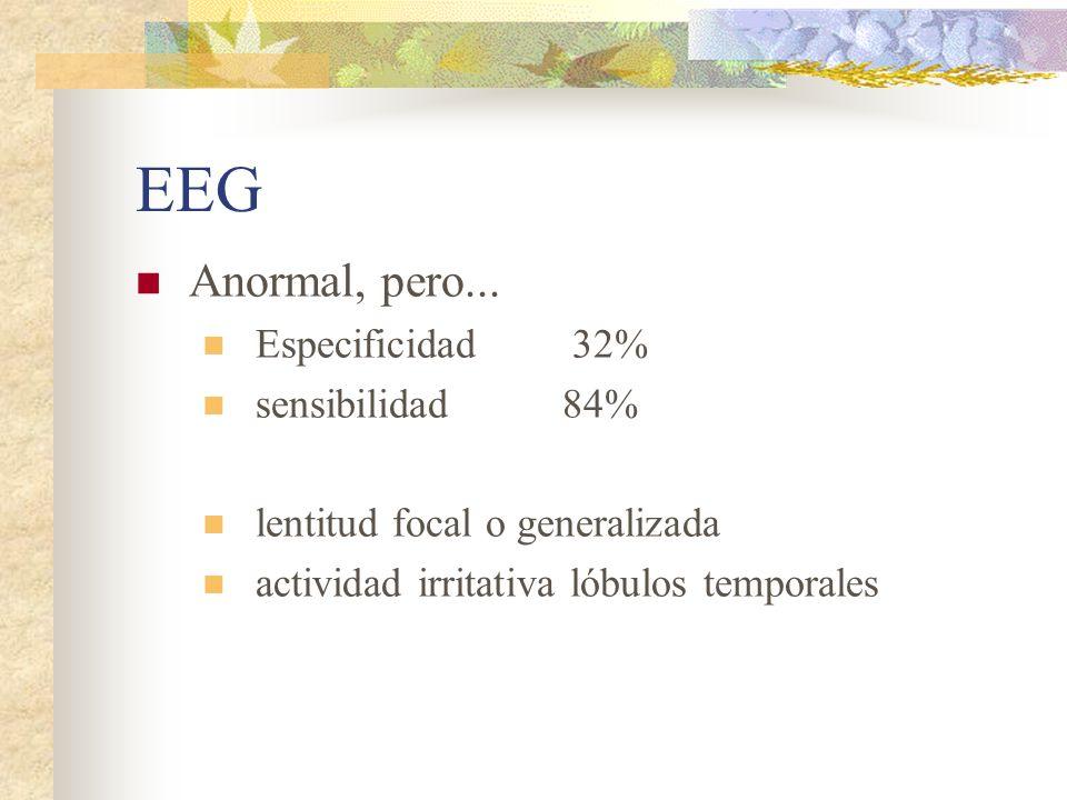 EEG Anormal, pero... Especificidad 32% sensibilidad 84%