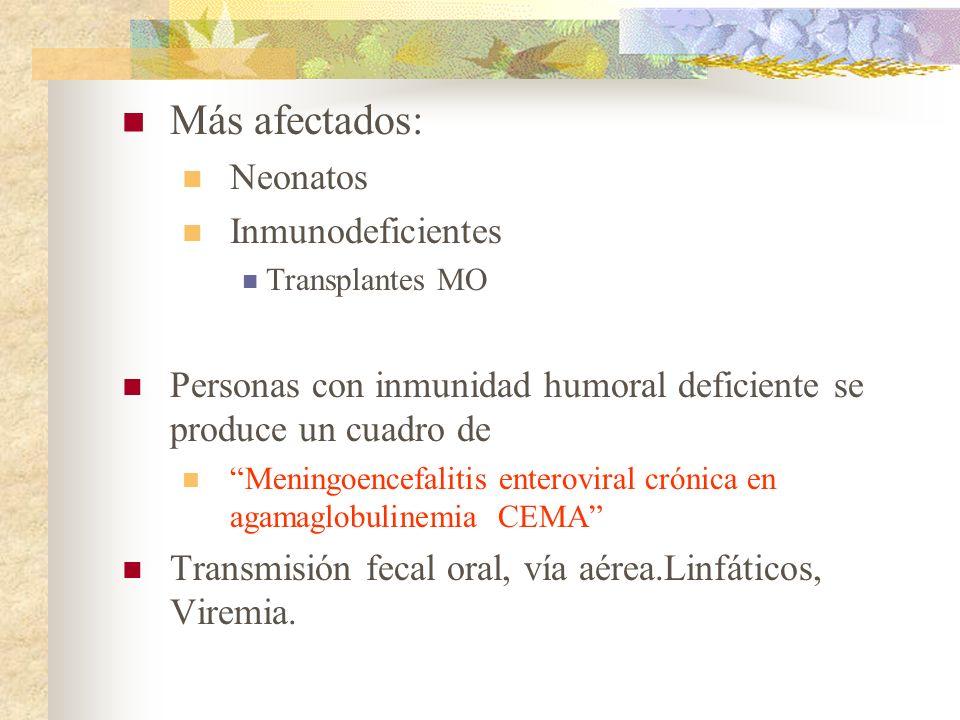 Más afectados: Neonatos Inmunodeficientes