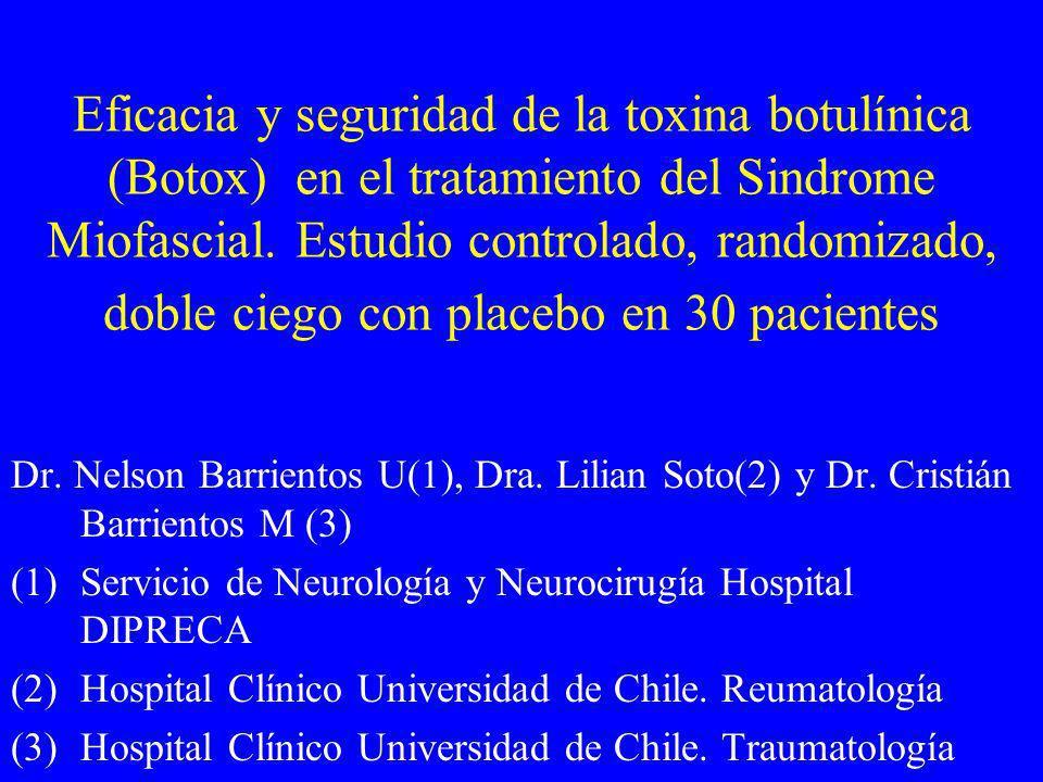 Eficacia y seguridad de la toxina botulínica (Botox) en el tratamiento del Sindrome Miofascial. Estudio controlado, randomizado, doble ciego con placebo en 30 pacientes