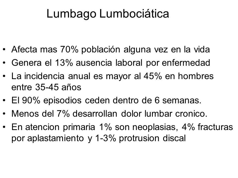 Lumbago Lumbociática Afecta mas 70% población alguna vez en la vida