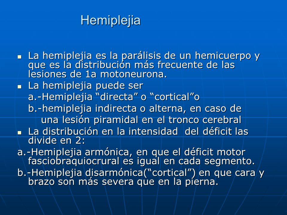 Hemiplejia La hemiplejia es la parálisis de un hemicuerpo y que es la distribución más frecuente de las lesiones de 1a motoneurona.
