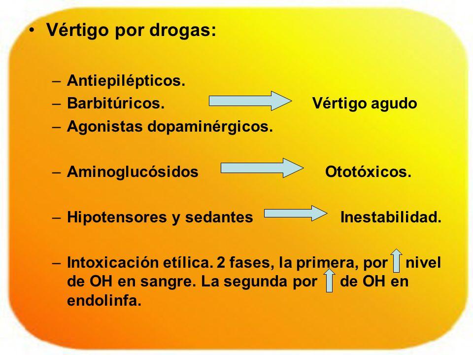 Vértigo por drogas: Antiepilépticos. Barbitúricos. Vértigo agudo