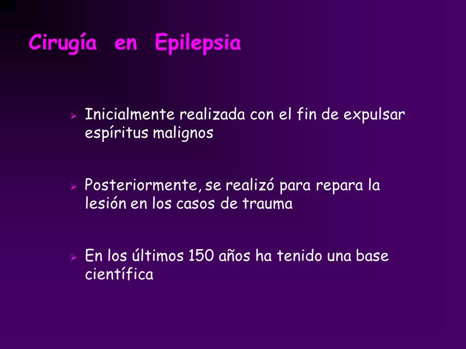 Cirugía en Epilepsia Inicialmente realizada con el fin de expulsar espíritus malignos.