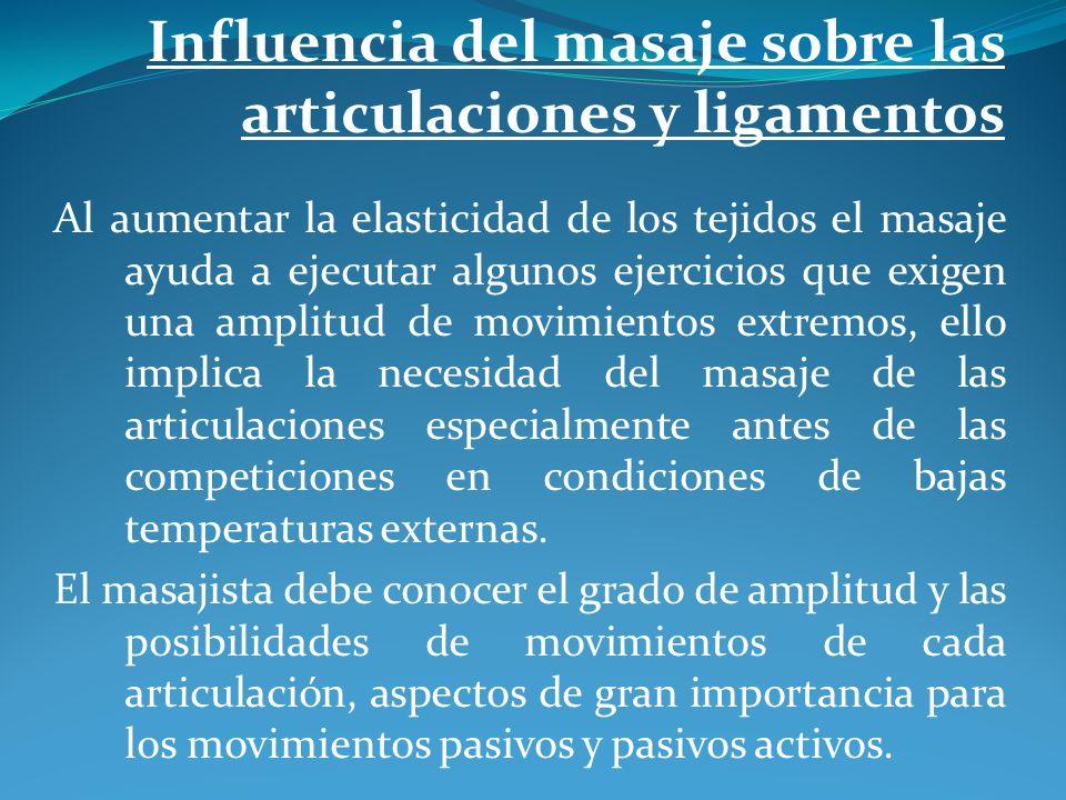 Influencia del masaje sobre las articulaciones y ligamentos