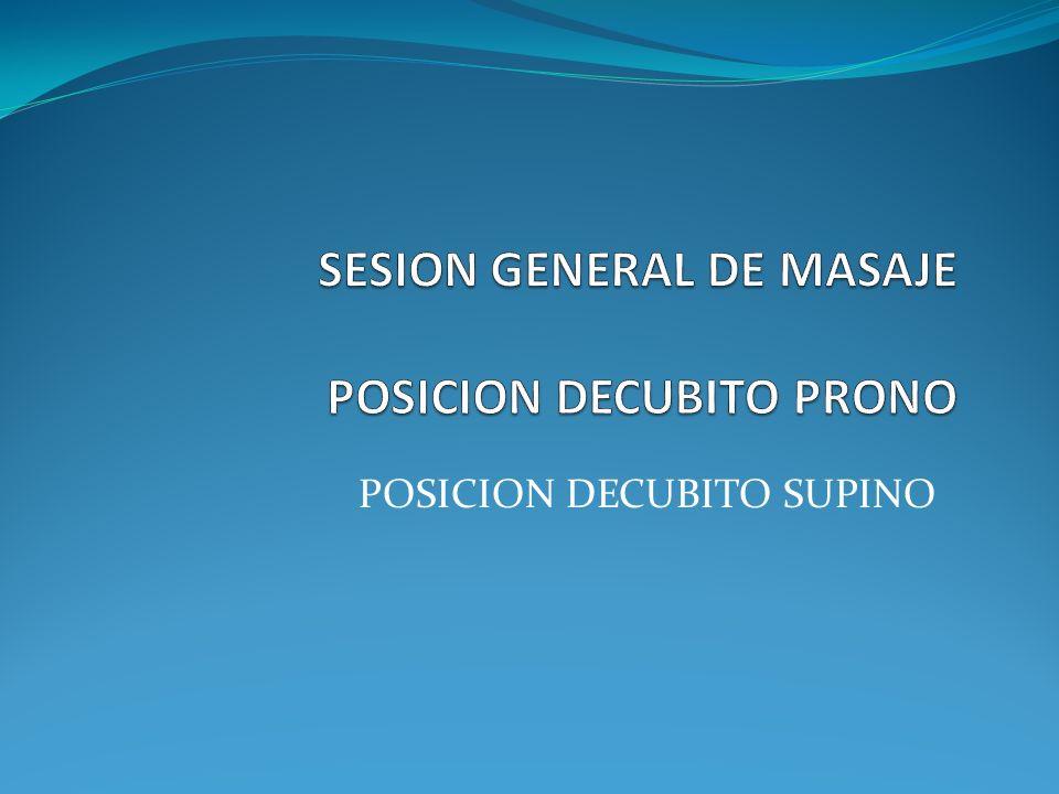 SESION GENERAL DE MASAJE POSICION DECUBITO PRONO