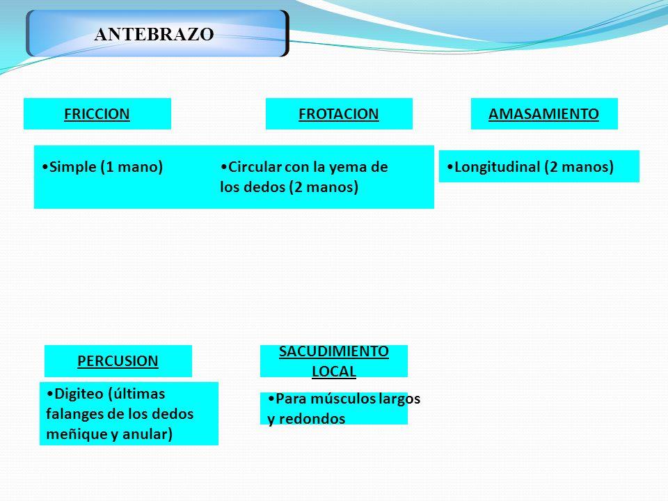 ANTEBRAZO FRICCION FROTACION AMASAMIENTO Simple (1 mano)