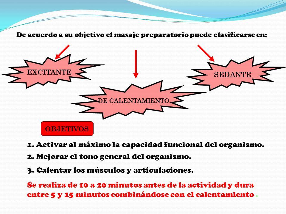 1. Activar al máximo la capacidad funcional del organismo.