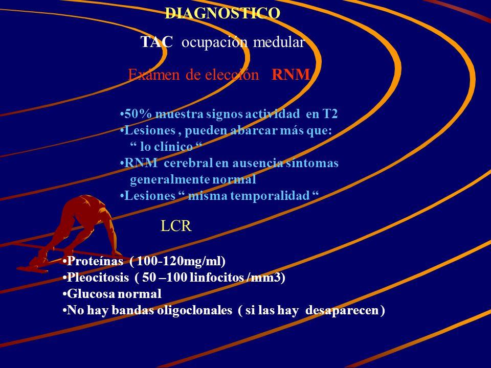 DIAGNOSTICO TAC ocupación medular Exámen de elección RNM LCR