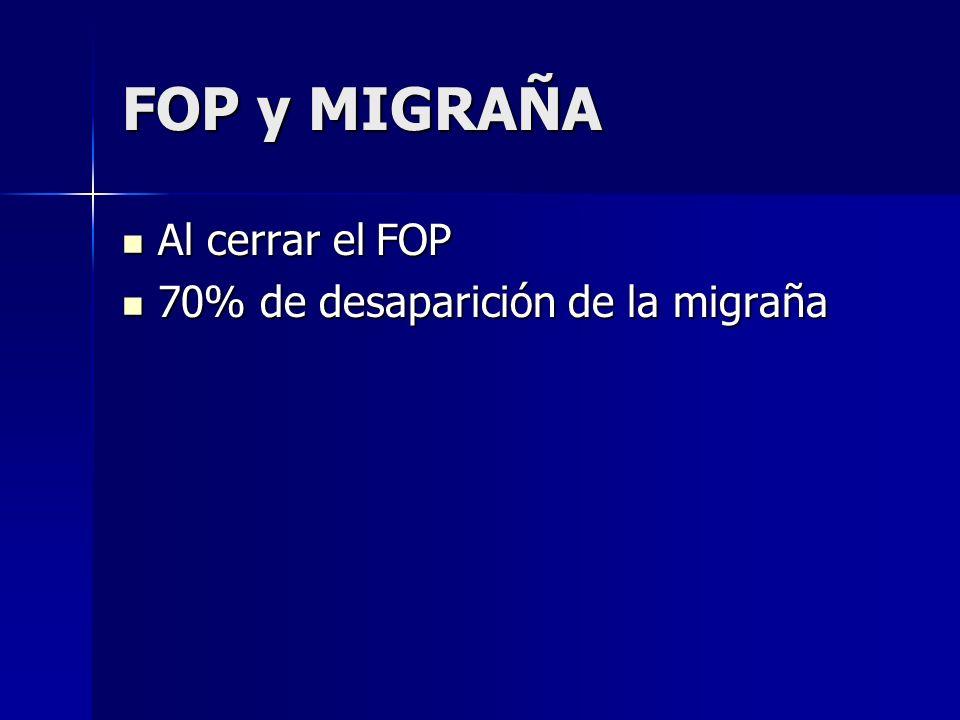 FOP y MIGRAÑA Al cerrar el FOP 70% de desaparición de la migraña