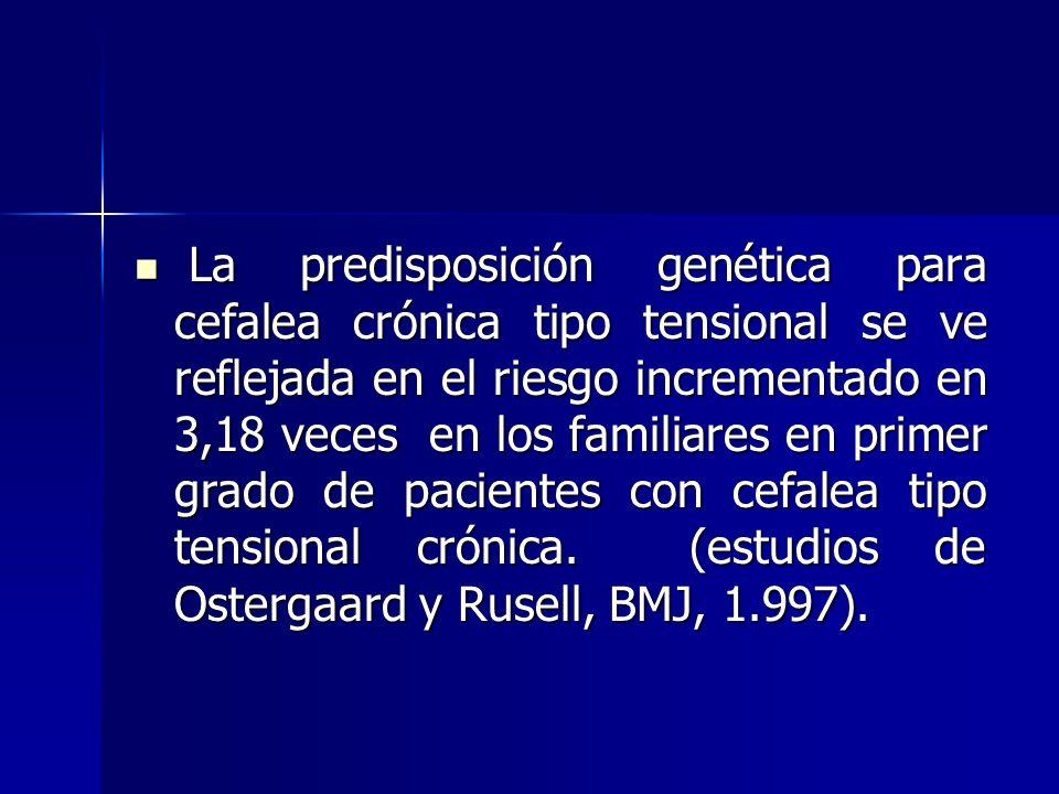La predisposición genética para cefalea crónica tipo tensional se ve reflejada en el riesgo incrementado en 3,18 veces en los familiares en primer grado de pacientes con cefalea tipo tensional crónica.