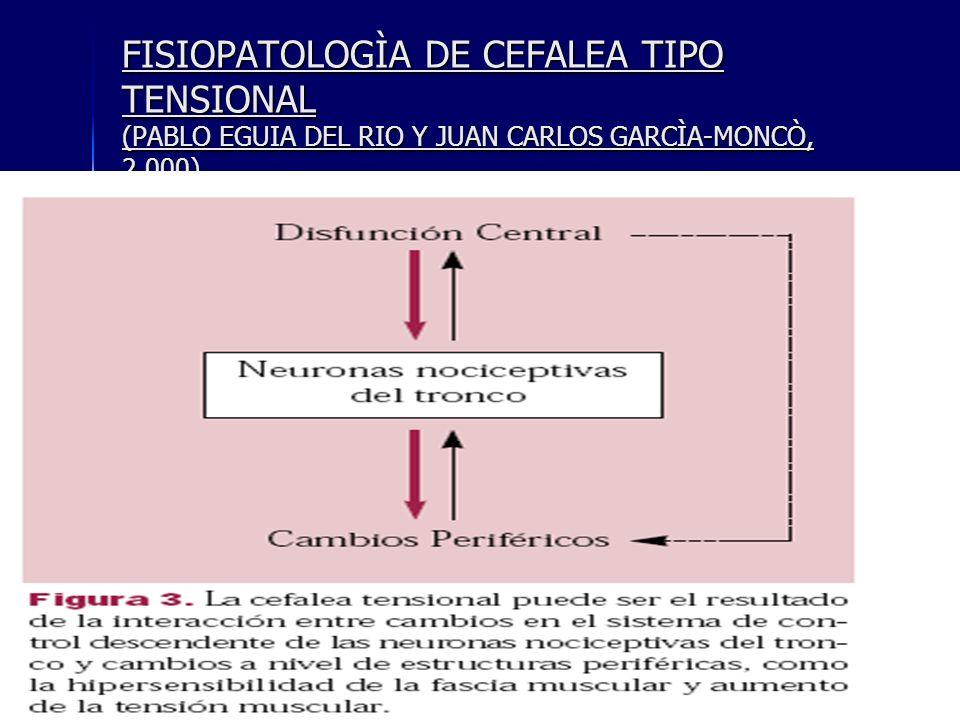 FISIOPATOLOGÌA DE CEFALEA TIPO TENSIONAL (PABLO EGUIA DEL RIO Y JUAN CARLOS GARCÌA-MONCÒ, 2.000).