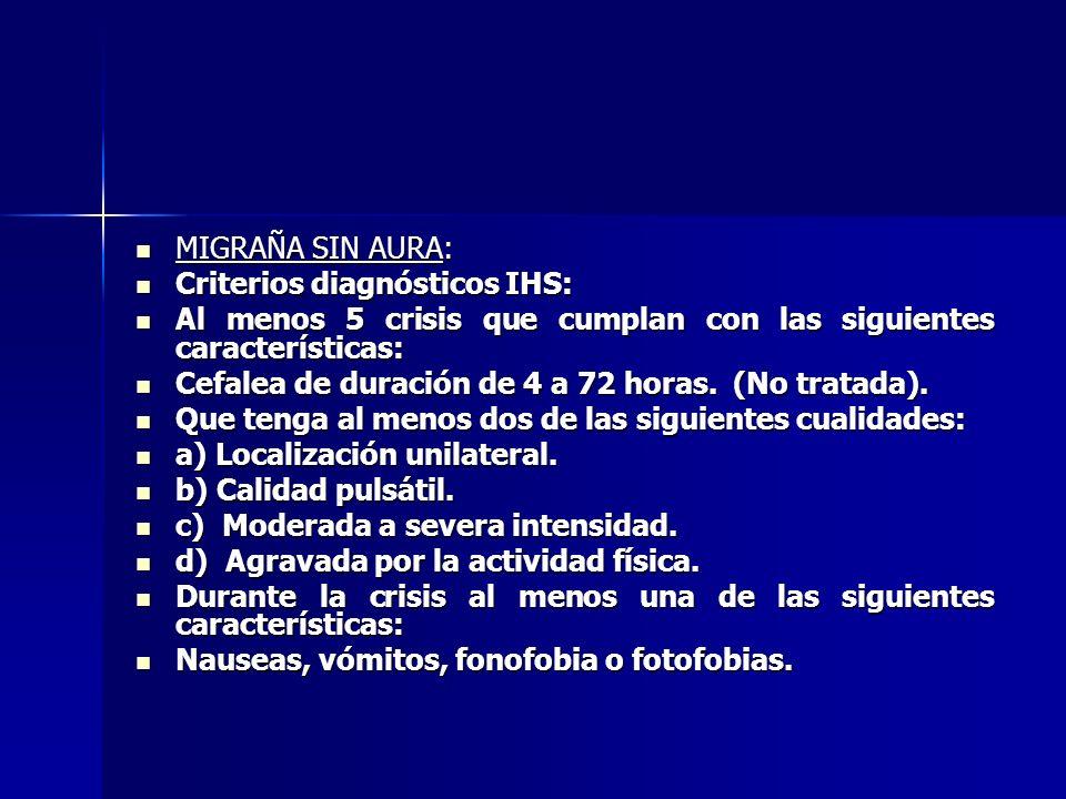 MIGRAÑA SIN AURA: Criterios diagnósticos IHS: Al menos 5 crisis que cumplan con las siguientes características: