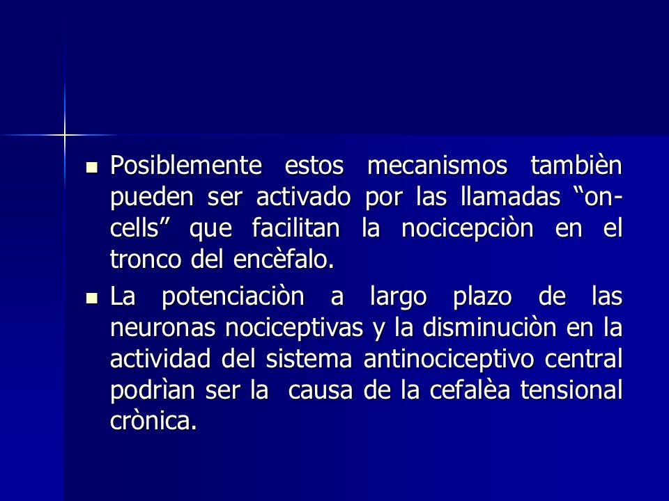 Posiblemente estos mecanismos tambièn pueden ser activado por las llamadas on-cells que facilitan la nocicepciòn en el tronco del encèfalo.