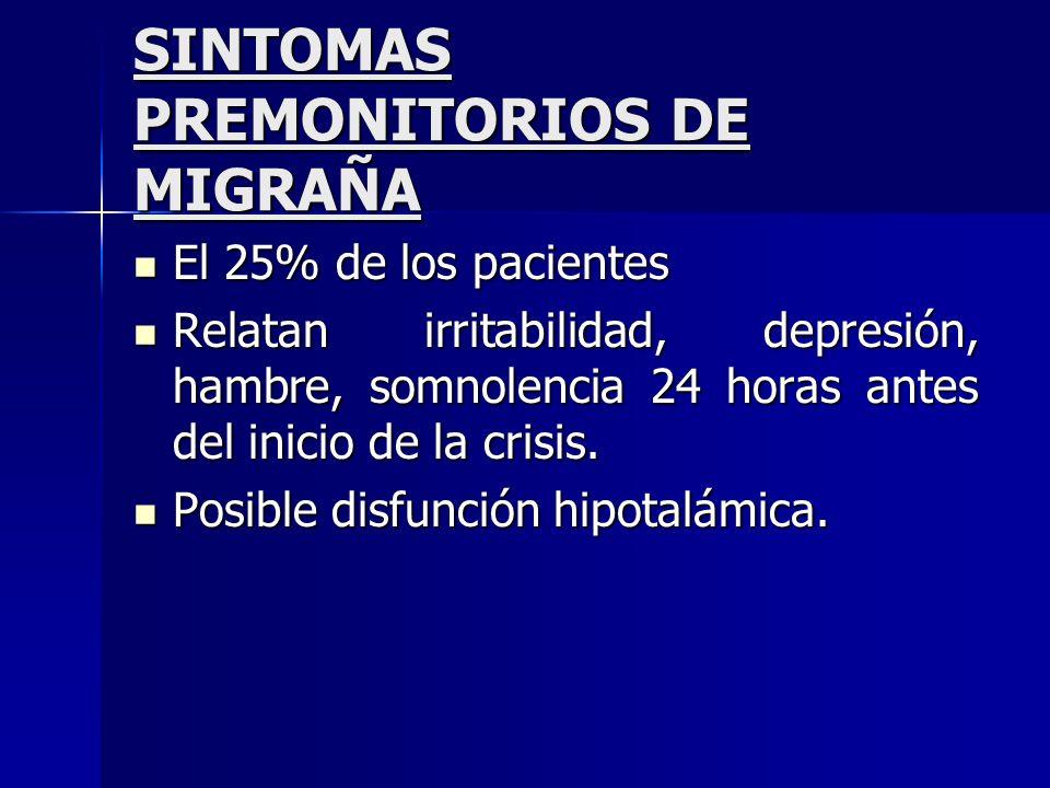 SINTOMAS PREMONITORIOS DE MIGRAÑA