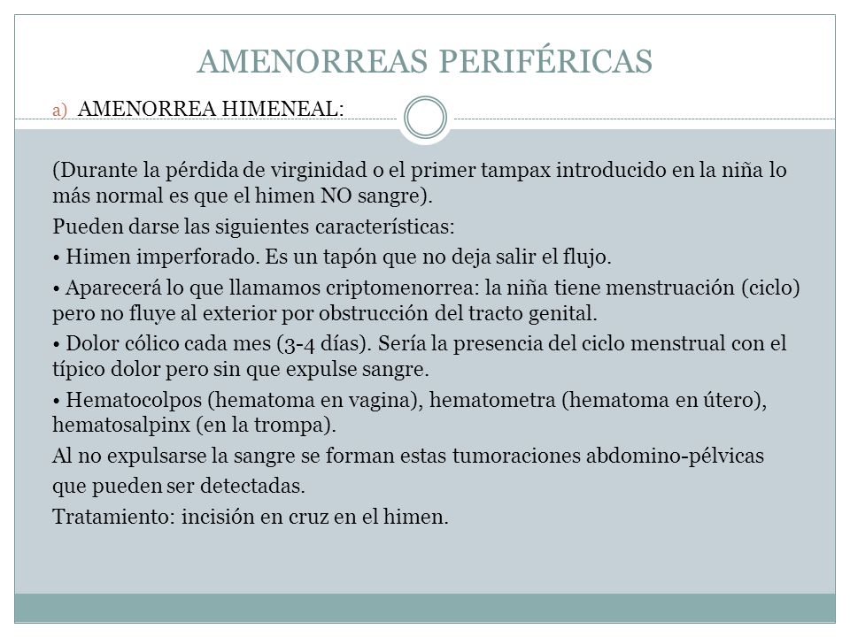 AMENORREAS PERIFÉRICAS