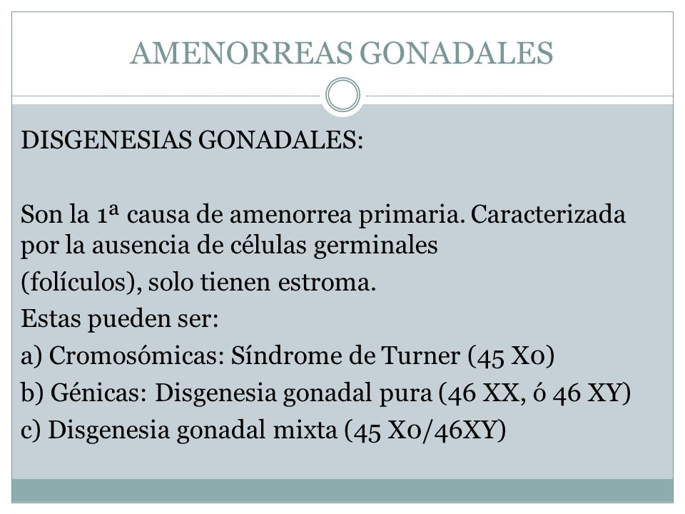 AMENORREAS GONADALES