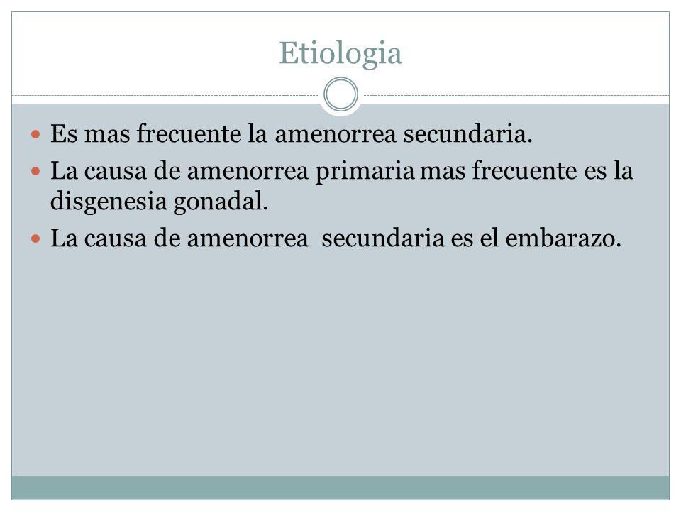 Etiologia Es mas frecuente la amenorrea secundaria.