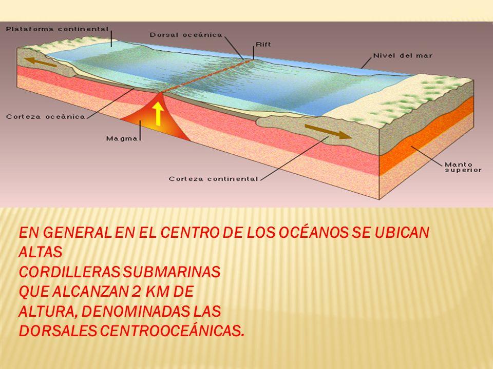 EN GENERAL EN EL CENTRO DE LOS OCÉANOS SE UBICAN ALTAS