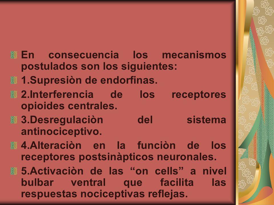 En consecuencia los mecanismos postulados son los siguientes: