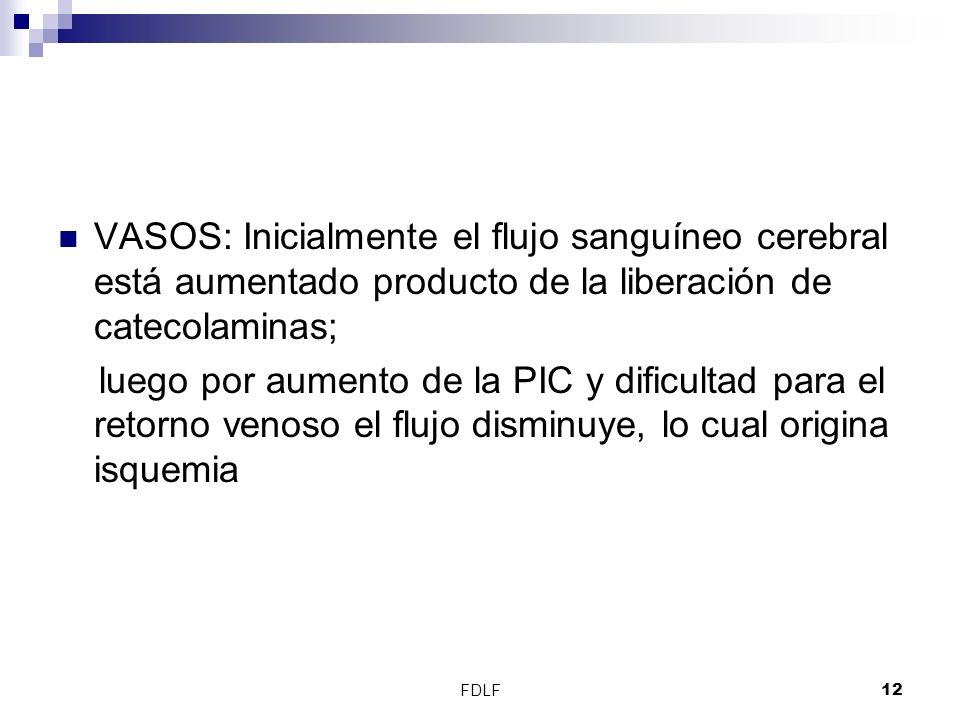VASOS: Inicialmente el flujo sanguíneo cerebral está aumentado producto de la liberación de catecolaminas;