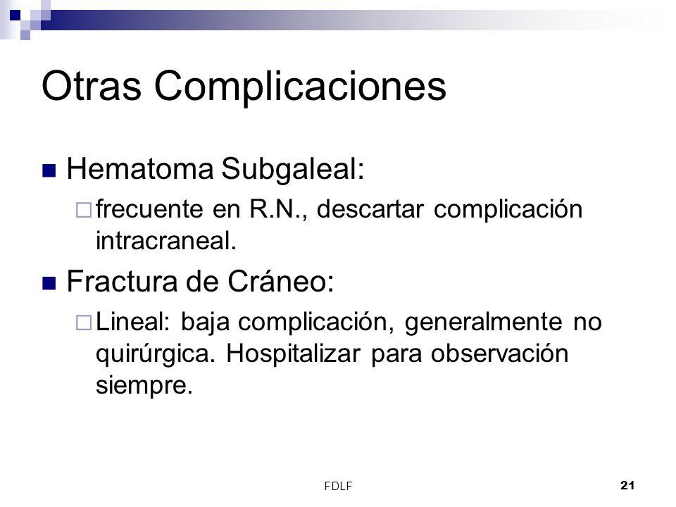 Otras Complicaciones Hematoma Subgaleal: Fractura de Cráneo: