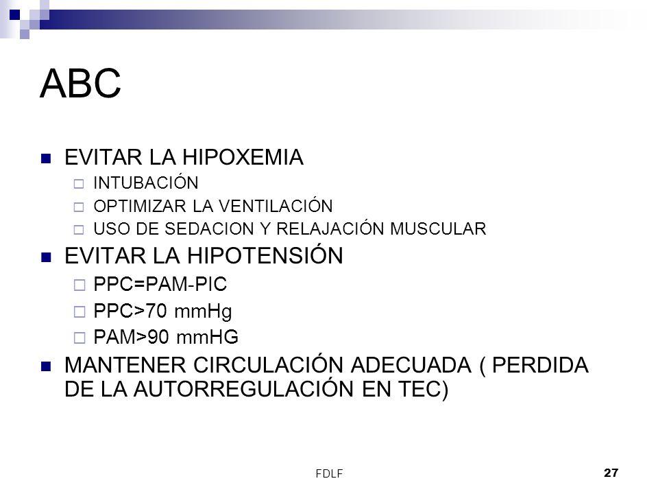 ABC EVITAR LA HIPOTENSIÓN EVITAR LA HIPOXEMIA