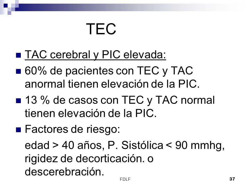 TEC TAC cerebral y PIC elevada: