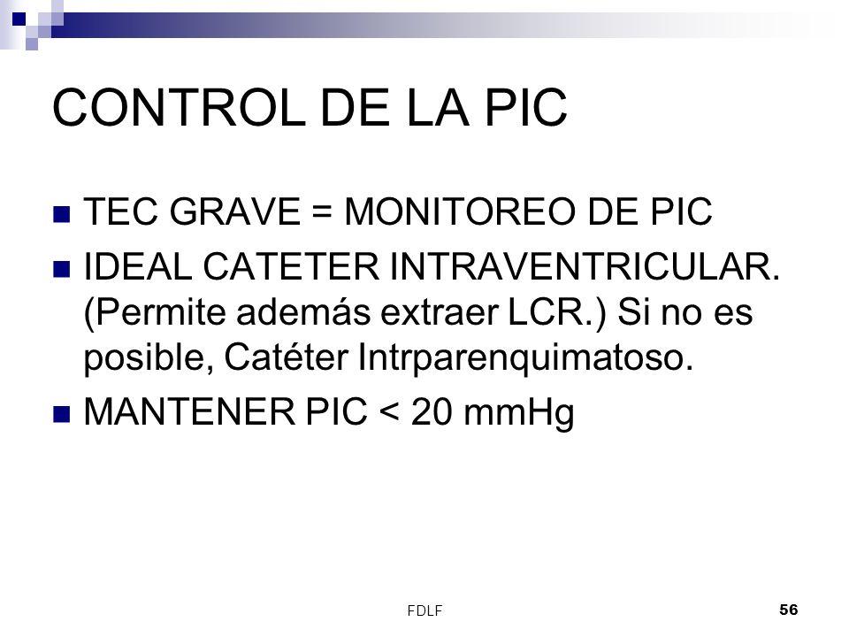 CONTROL DE LA PIC TEC GRAVE = MONITOREO DE PIC