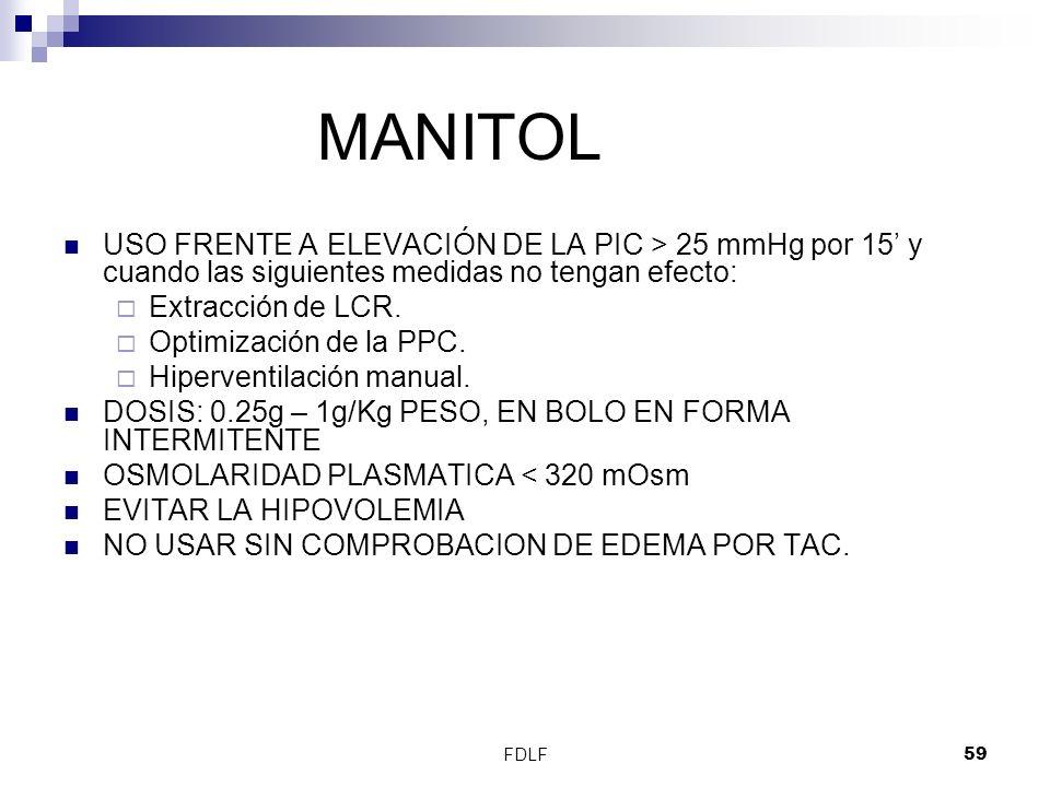 MANITOL USO FRENTE A ELEVACIÓN DE LA PIC > 25 mmHg por 15' y cuando las siguientes medidas no tengan efecto: