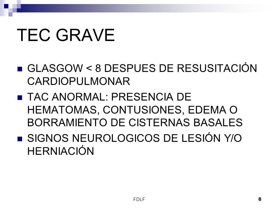 TEC GRAVE GLASGOW < 8 DESPUES DE RESUSITACIÓN CARDIOPULMONAR