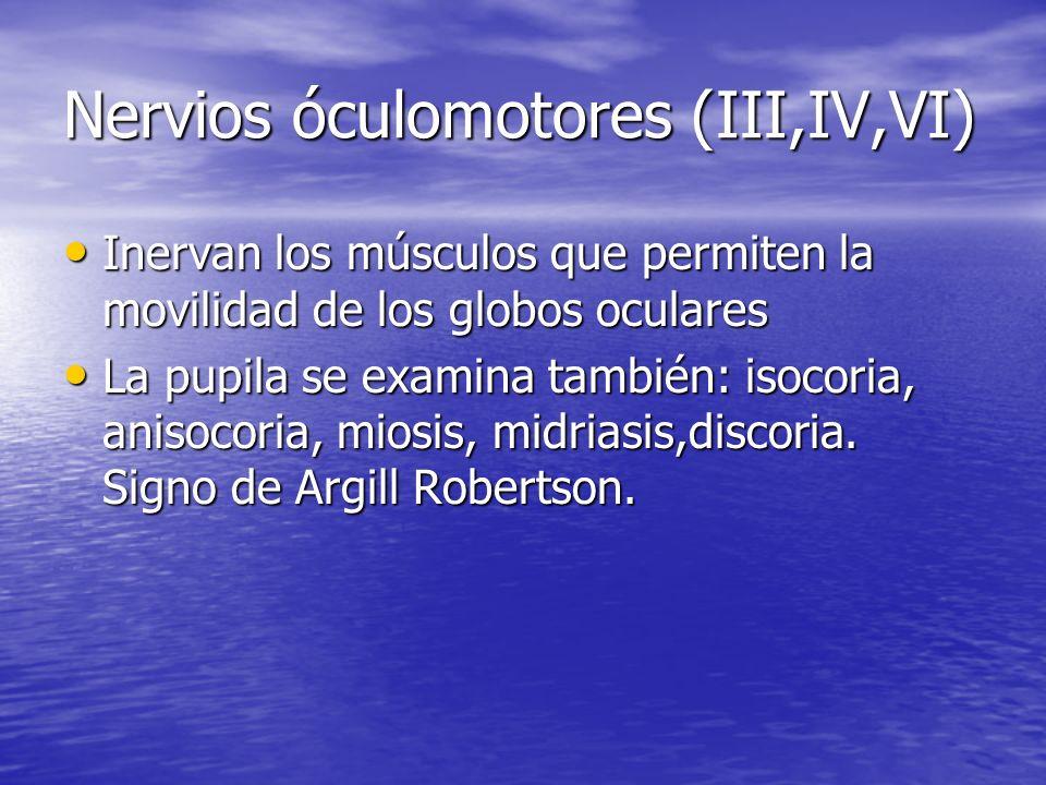 Nervios óculomotores (III,IV,VI)