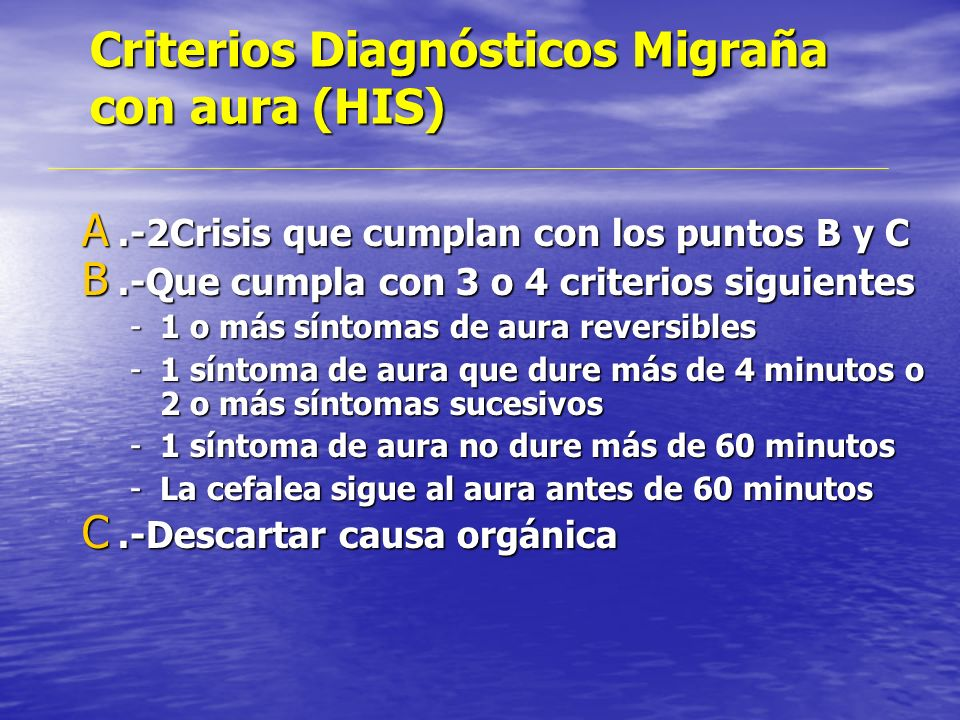 Criterios Diagnósticos Migraña con aura (HIS)