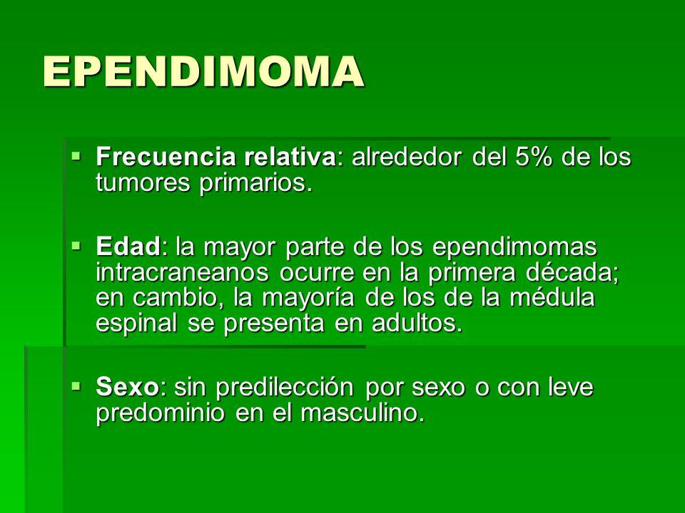EPENDIMOMA Frecuencia relativa: alrededor del 5% de los tumores primarios.