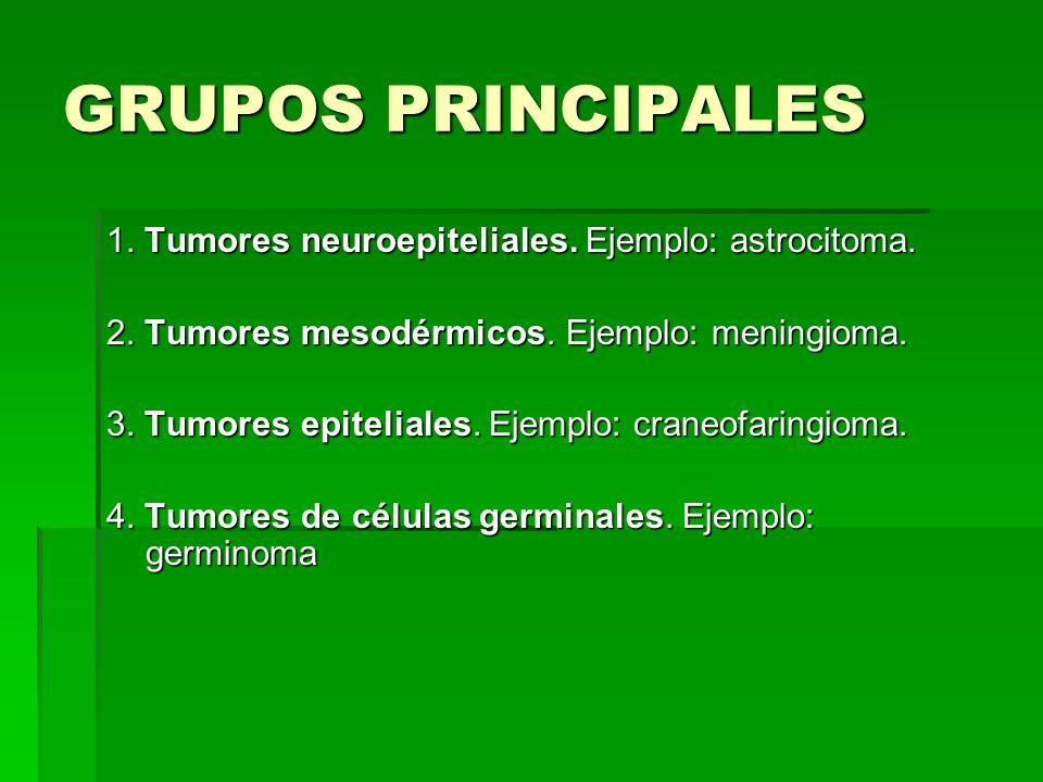 GRUPOS PRINCIPALES 1. Tumores neuroepiteliales. Ejemplo: astrocitoma.