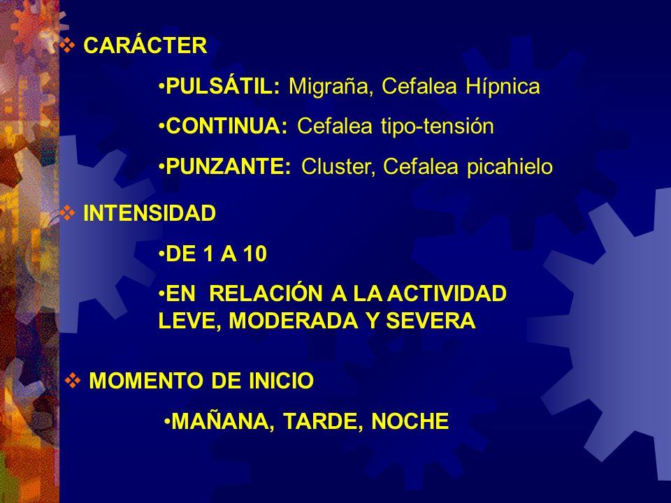 CARÁCTER PULSÁTIL: Migraña, Cefalea Hípnica. CONTINUA: Cefalea tipo-tensión. PUNZANTE: Cluster, Cefalea picahielo.